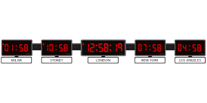 Sapling 404 Digital Clocks; Center 406 Digital Time Zone Clock - White Name Plates - Red LED