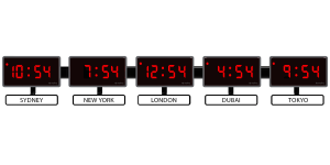 Sapling 404 Digital Time Zone Clock - White Nameplate - Red LED