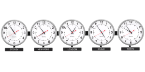 Sapling Round Analog Time Zone Clock - Brushed Aluminum, Dial S Hands S
