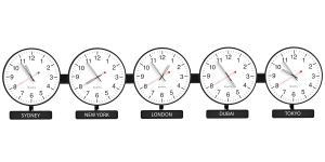 Sapling Round Analog Time Zone Clock - Dial D Hands 3