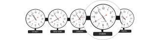 Sapling Round Analog Time Zone Clock - Dial D Hands 3 - Close Up