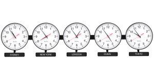 Sapling Round Analog Time Zone Clock - Dial D Hands Standard