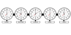 Sapling Round Analog Time Zone Clock - Dial D Hands Standard - White Nameplates