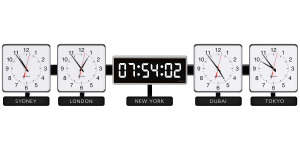 Sapling Square Analog - Dial S Hands S; Center 406 Digital Time Zone Clock - White LED