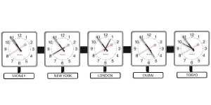 Sapling Square Analog Time Zone Clock - Dial A Hands 2 - White Nameplates