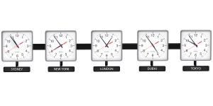 Sapling Square Analog Time Zone Clock - Dial D Hands Standard