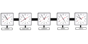 Sapling Square Analog Time Zone Clock - Dial D Hands Standard - White Nameplate