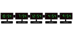 Sapling 404 Green Zone Clock 5 Time Zones - H